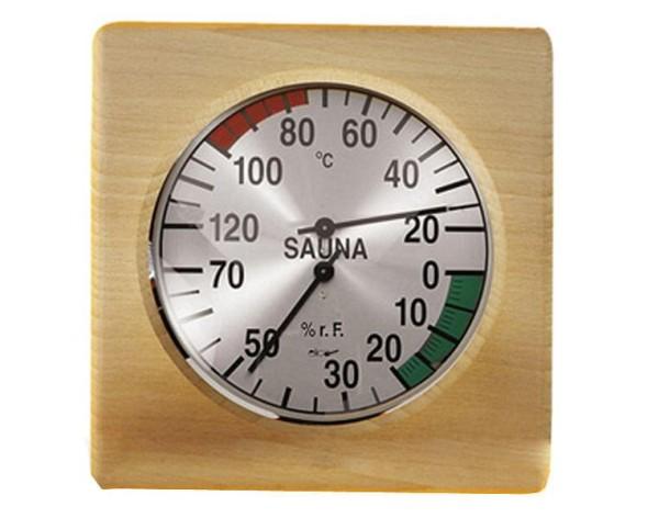 Eliga Klimamesser 170 mm in 4-eckigem Holzrahmen