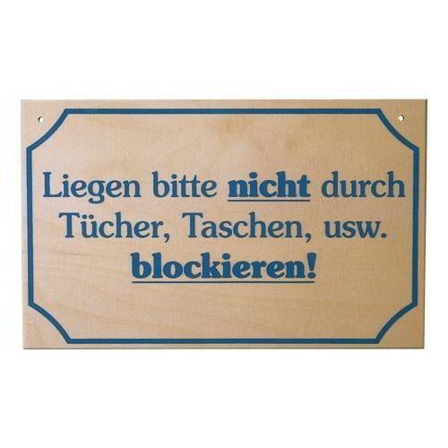"""Saunaschild """"Liegen nicht blockieren"""""""