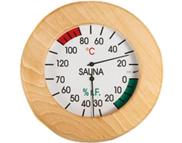 Eliga Klimamesser 155 mm in rundem Holzrahmen